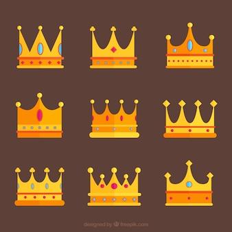 Conjunto de nove coroas de ouro com gemas