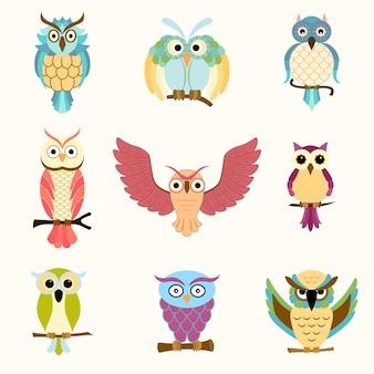 Conjunto de nove corujas coloridas dos desenhos animados
