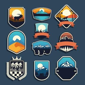 Conjunto de nove emblemas de aventura