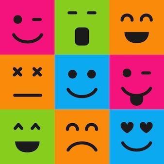 Conjunto de nove emoticons coloridos. ícone de emoji na praça. padrão de fundo plano. ilustração vetorial