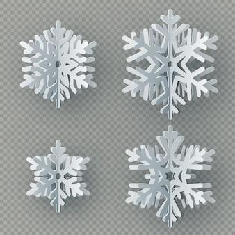 Conjunto de nove flocos de neve de papel diferente, corte de papel em fundo transparente. feliz natal, ano novo objeto de decoração de tema de inverno.