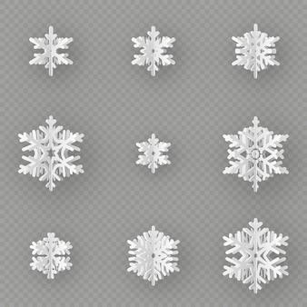 Conjunto de nove flocos de neve de papel diferente, corte de papel isolado em fundo transparente. feliz natal, ano novo objeto de decoração de tema de inverno.