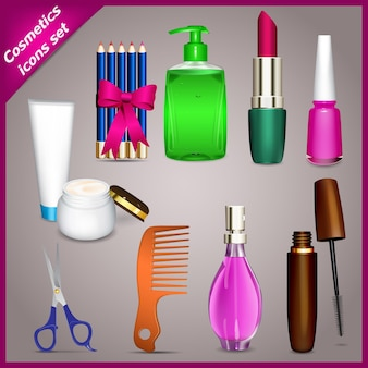 Conjunto de nove ícones coloridos detalhados em cosméticos