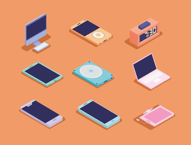 Conjunto de nove ícones eletrônicos