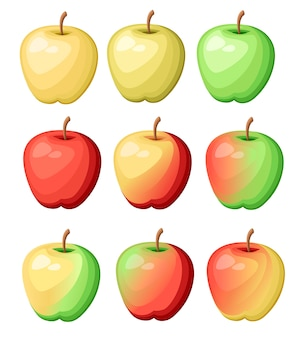 Conjunto de nove maçãs de cores diferentes. ilustração de frutas deliciosas frescas. ilustração em fundo branco.