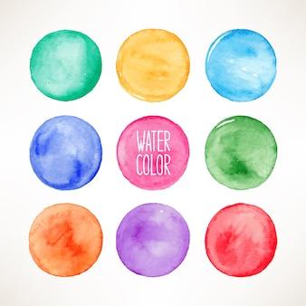 Conjunto de nove manchas redondas coloridas em aquarela