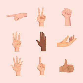 Conjunto de nove mãos humanas inter-raciais