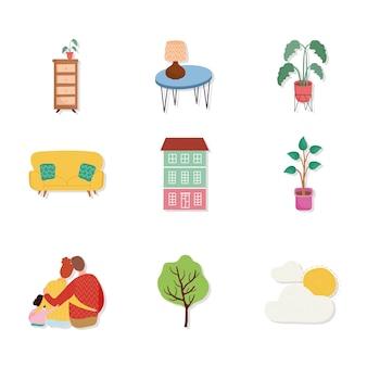Conjunto de nove membros da família e ilustração de conjunto de ícones