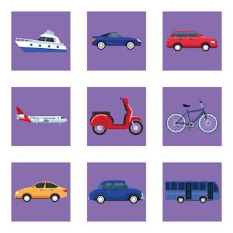 Conjunto de nove veículos de transporte