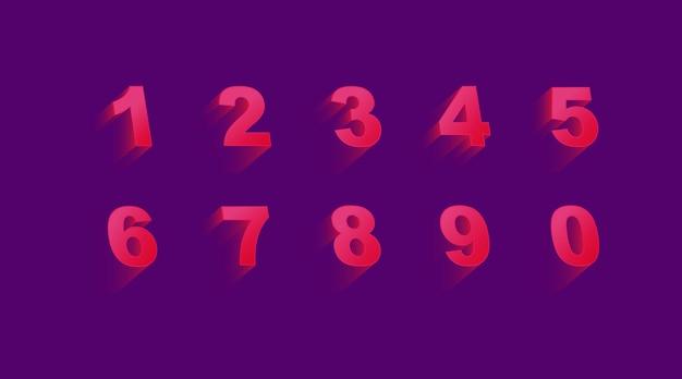 Conjunto de numeração 3d em violeta