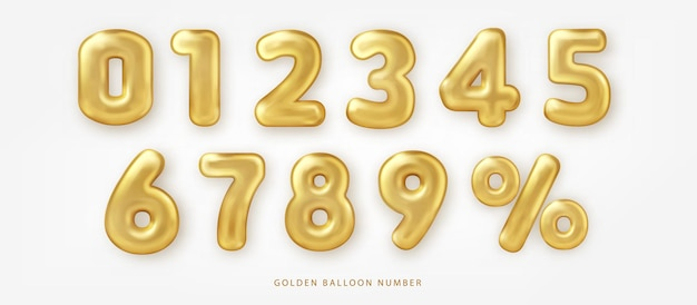 Conjunto de número de balão dourado brilhante e notação de porcentagem