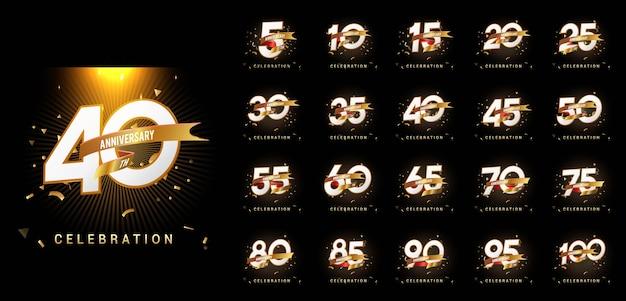 Conjunto de número de celebração de aniversário com fita e confete