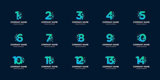 Conjunto de número de coleção com modelo de logotipo de conceito de ponto e molécula.