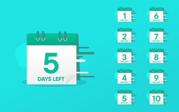 Conjunto de número de dias restantes modelo de contagem regressiva