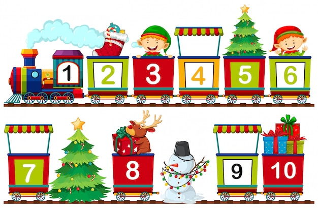 Conjunto de número de natal no trem