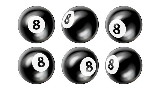Conjunto de número oito de bolas de bilhar de sinuca