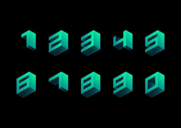 Conjunto de número retro isométrico cúbico