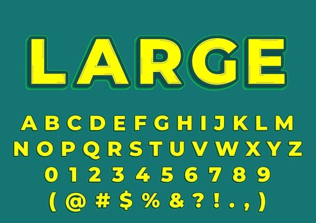 Conjunto de números 3d de alfabetos amarelos grandes