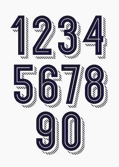 Conjunto de números 3d negrito na moda estilo tipografia