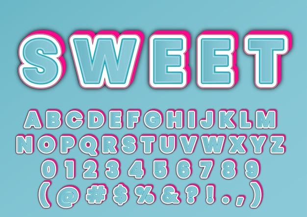 Conjunto de números 3d trendy sweet alphabets