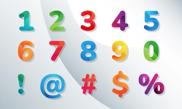Conjunto de números arredondados coloridos decorados