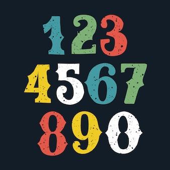 Conjunto de números bold (realce) de cor desenhada e esboçado de mão, estilo de desenho.