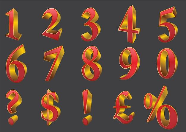 Conjunto de números brilhantes volumétricos e sinal de porcentagem. vetor 3d, números dourados 3d