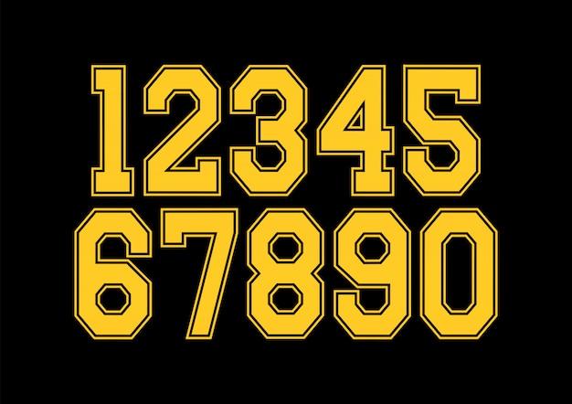 Conjunto de números com elementos de design de tipografia amarelo e preto