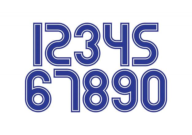 Conjunto de números com elementos de design de tipografia azul e branco