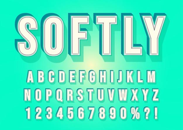 Conjunto de números de alfabetos 3d cool tosca