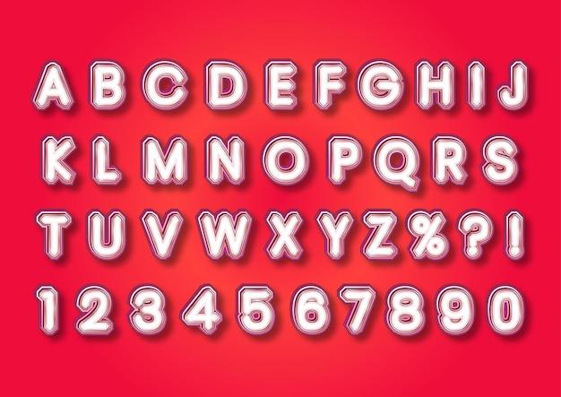 Conjunto de números de alfabetos 3d de joia de rubi vermelho