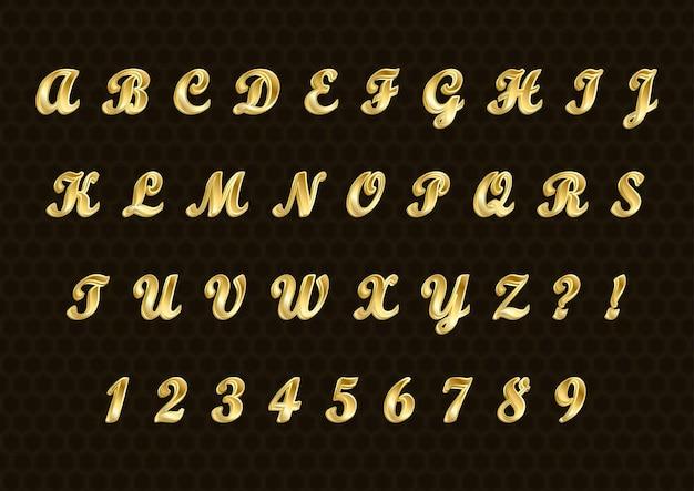Conjunto de números de alfabetos 3d dourados elegantes