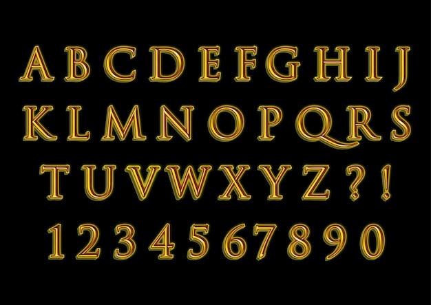 Conjunto de números de alfabetos clássicos de ouro 3d