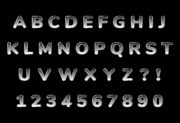 Conjunto de números de alfabetos cromados brilhantes
