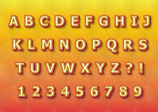 Conjunto de números de alfabetos de cores do pôr do sol em 3d