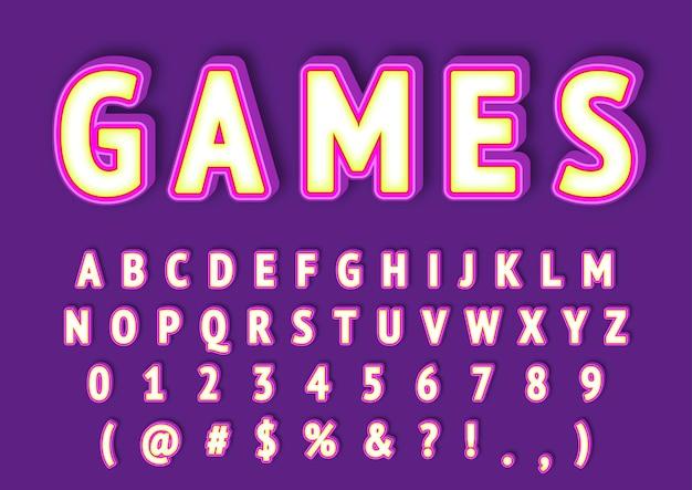 Conjunto de números de alfabetos de design moderno 3d