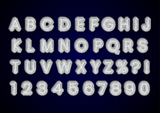 Conjunto de números de alfabetos de diamante prateado