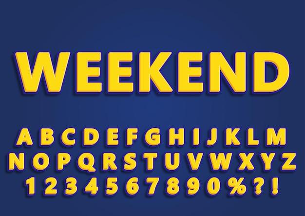 Conjunto de números de alfabetos de fim de semana na moda em 3d