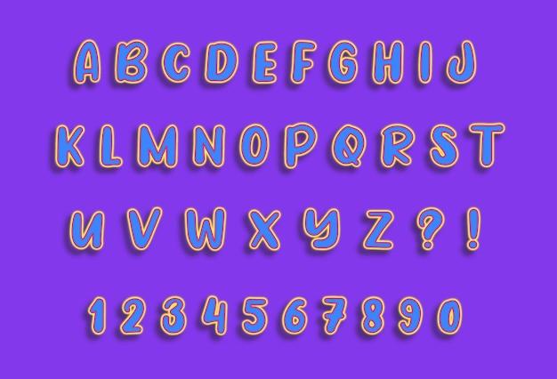 Conjunto de números de alfabetos de linhas leves flutuantes