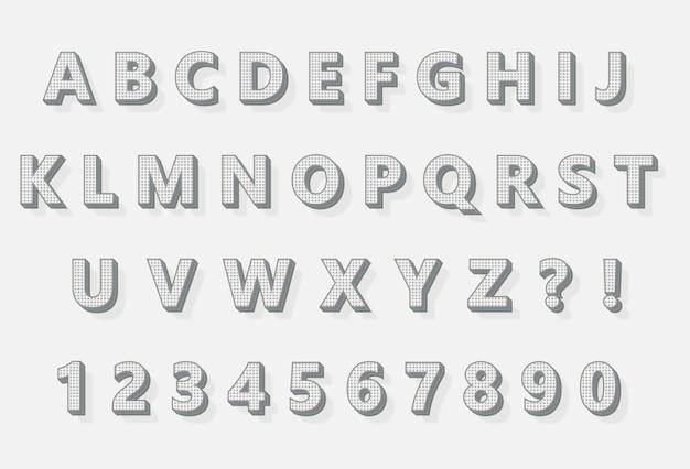 Conjunto de números de alfabetos de pixel 3d de cor de lápis