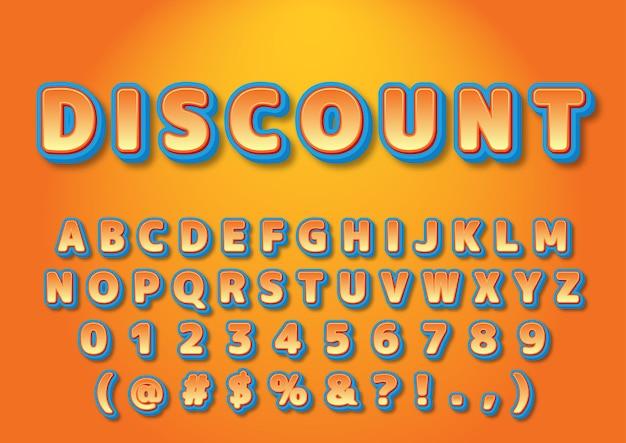 Conjunto de números de alfabetos de promoção 3d
