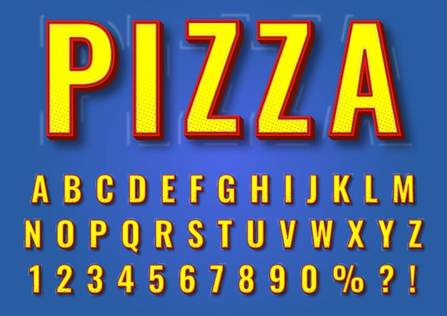 Conjunto de números de alfabetos de textura amarela 3d