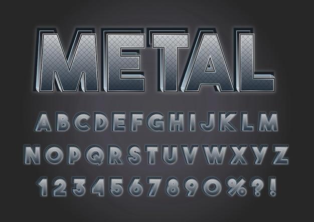 Conjunto de números de alfabetos de textura cromada preta
