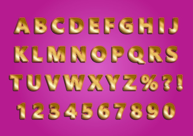 Conjunto de números de alfabetos dourados brilhantes