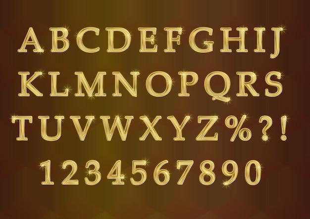 Conjunto de números de alfabetos dourados modernos e brilhantes em 3d