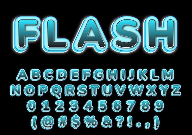 Conjunto de números de alfabetos em 3d da moda em flash
