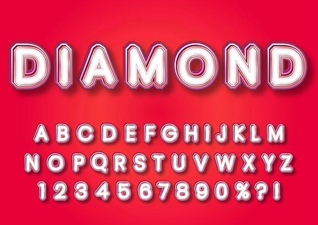Conjunto de números de alfabetos em forma de diamante 3d