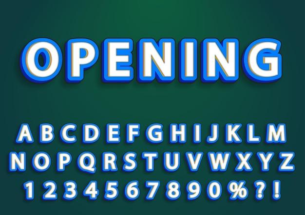 Conjunto de números de alfabetos em inglês 3d