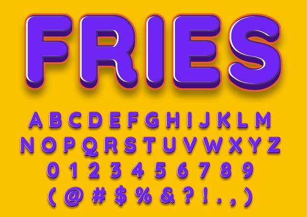 Conjunto de números de alfabetos em negrito brilhante 3d