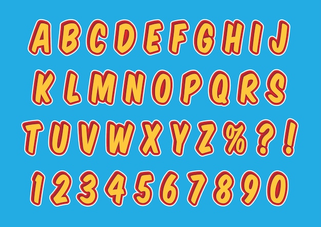 Conjunto de números de alfabetos em quadrinhos 3d